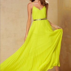 Victoria's Secret neon knife pleated maxi dress